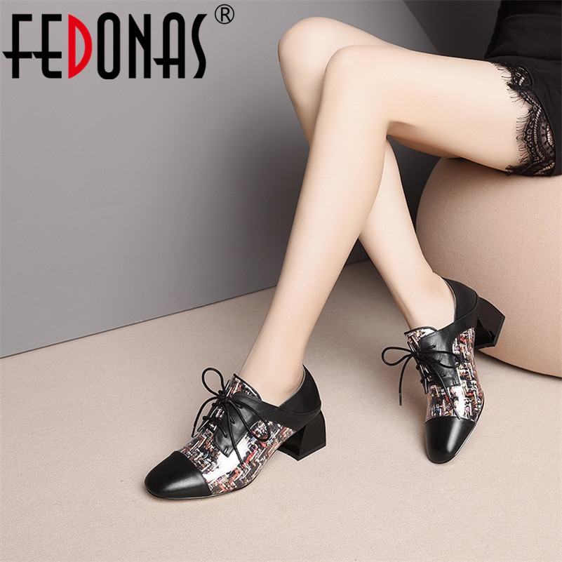 FEDONAS Fashion Brand Women High Heels Genuine Leather Corss-tied Spring Summer Shoes Woman Rome Style Round Toe Party Pumps