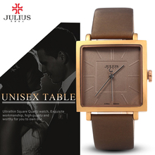 JULIUS Quartz Brand Lady Watches Women Luxury Rose Gold Antique Square Casual Leather Dress Wrist watch Relogio Feminino Montre