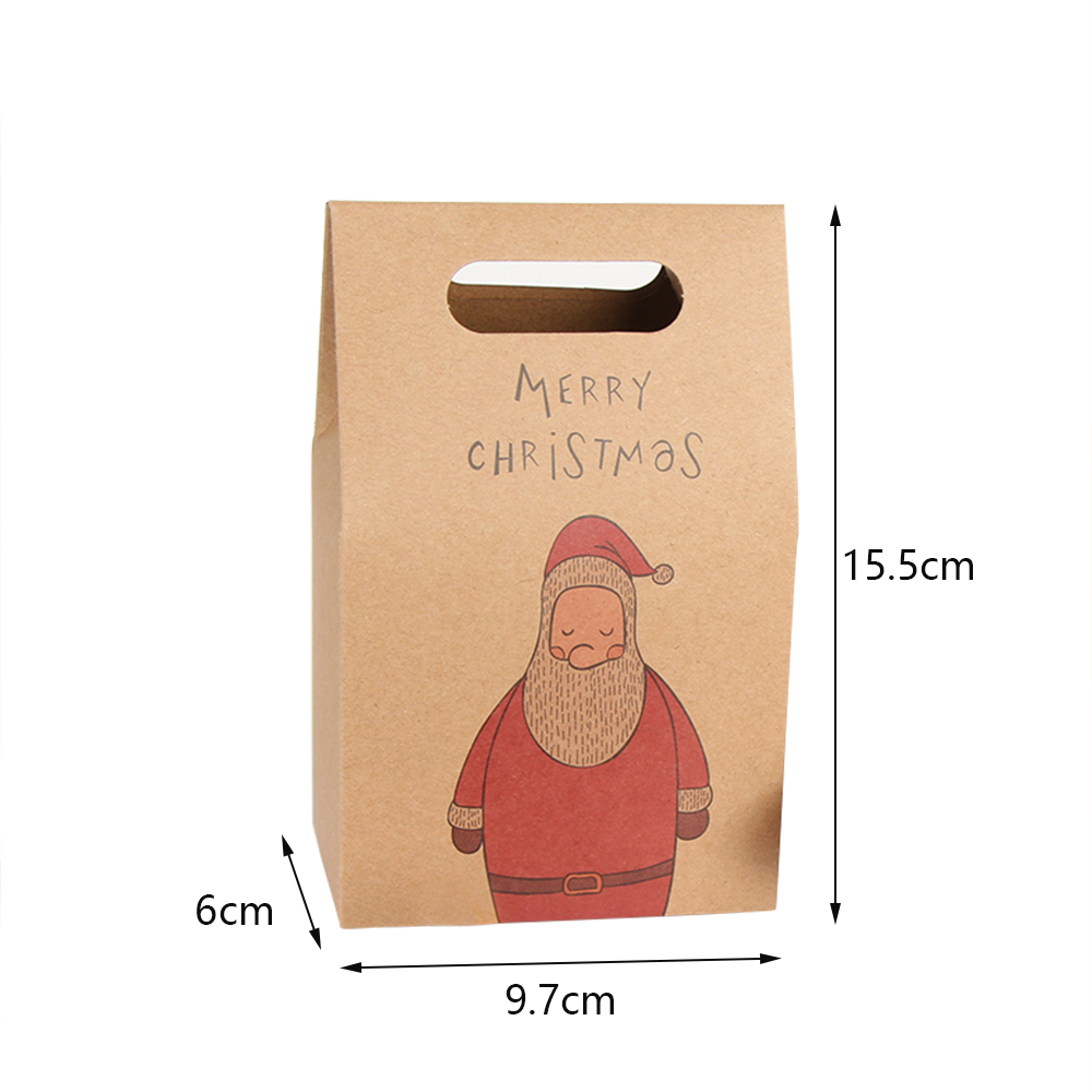 1Pcs Kraft Paper Xmas Party Cookies Candy Present Gift Bag Luxury Wedding Bag Christmas Candy Box Christmas Party Accessories 9