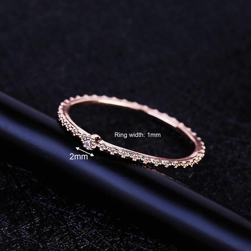 MIGGA حساسة واحدة صغيرة مكعب الزركون خاتم كريستال روز الذهب اللون رقيقة حلقة للنساء الأزياء باجي