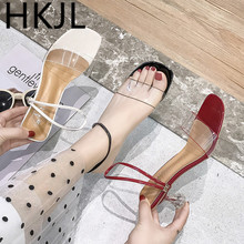 HKJL Transparent summer sandals for women with chunky heels for fashion 2019 new open-toed mid-heel sandals for women A486 vintage women s sandals with solid color and chunky heel design