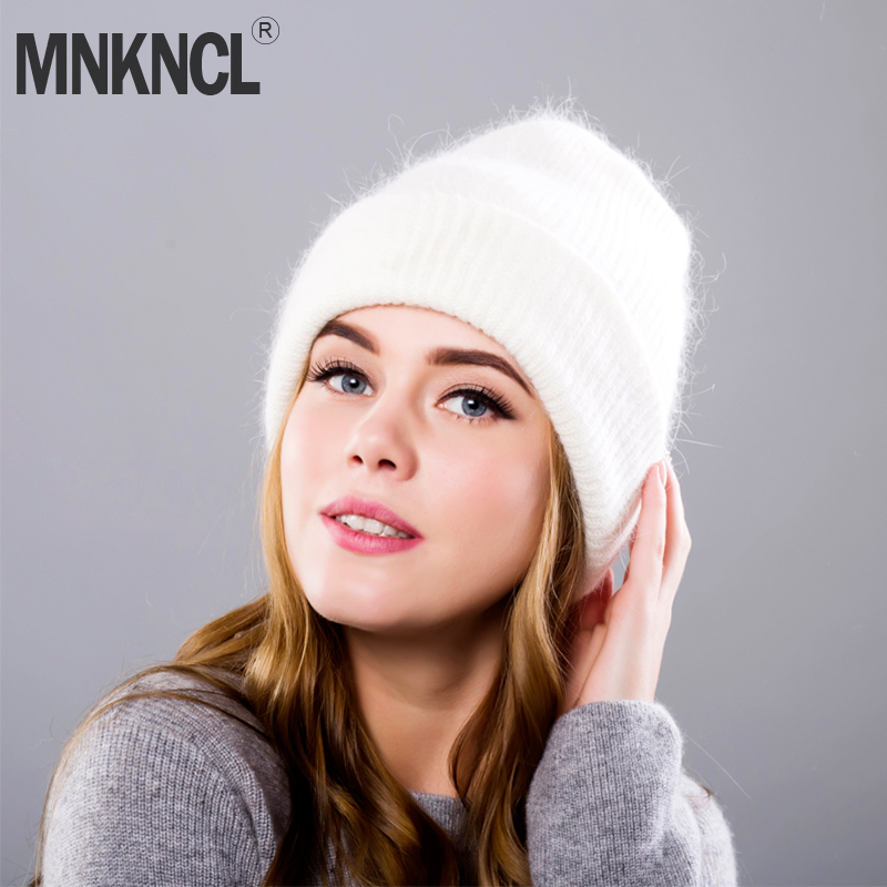 Hot selling 2018 New Women Autumn And Winter Hat angora Knitted   Skullies     Beanies   Cap Classic color hats