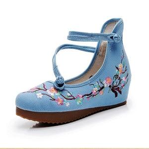 Image 3 - Veowalk Flowers Embroidered Women High Top Canvas Hidden Flat Platforms Ankle Dual Strap Ladies Casual Denim Cotton Shoes