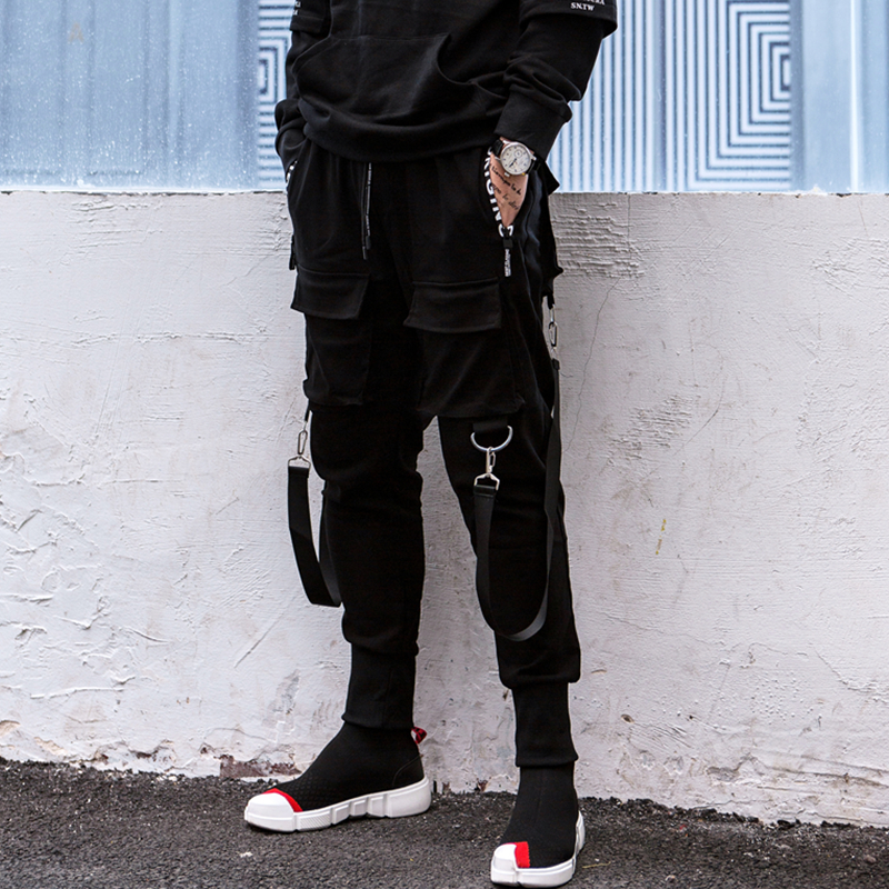 New Fashion Brand Darkly Style Men Jogger Trousers Autumn Hip Hop Streetwear Side Zipper Pocket Ribbon Sweatpants Pencil Pants