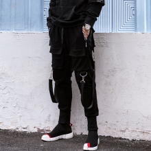 pdtxcls Darkly Style Men Jogger Trousers Autumn Hip Hop Streetwear Side Zipper Pocket