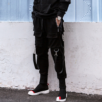 New Fashion Brand Darkly Style Men Jogger Trousers Autumn Hip Hop Streetwear Side Zipper Pocket Ribbon Sweatpants Pencil Pants