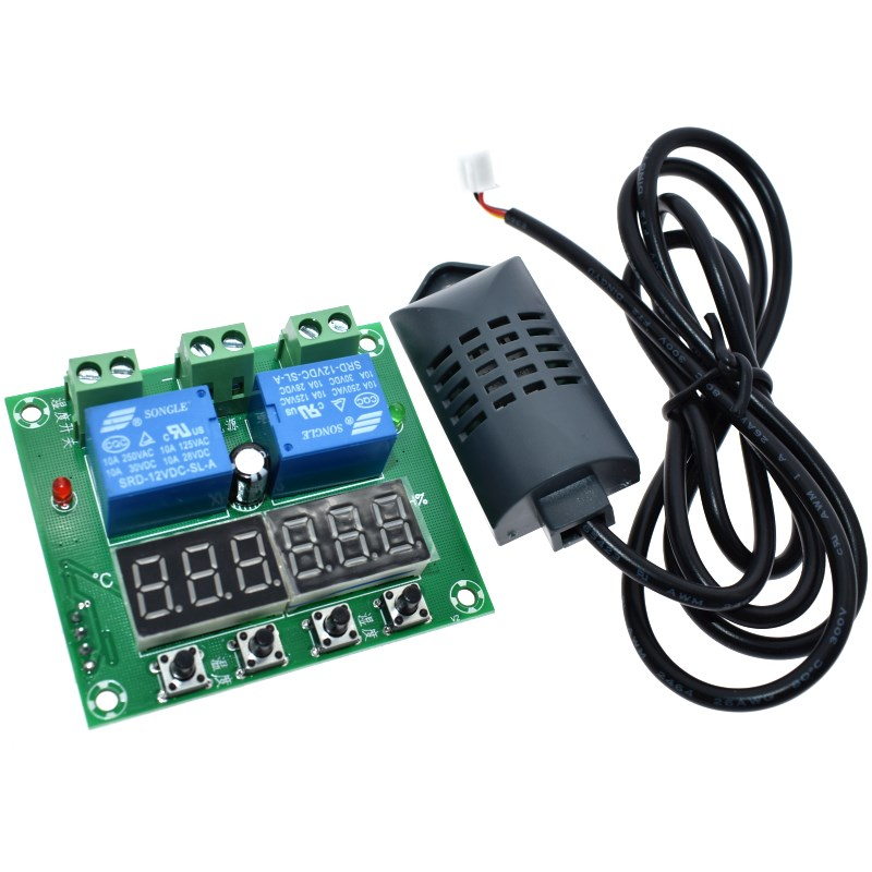 DC 12V Thermostat Temperature Humidity Control Thermometer Hygrometer Controller Module LED Digital Display Dual OutputDC 12V Thermostat Temperature Humidity Control Thermometer Hygrometer Controller Module LED Digital Display Dual Output
