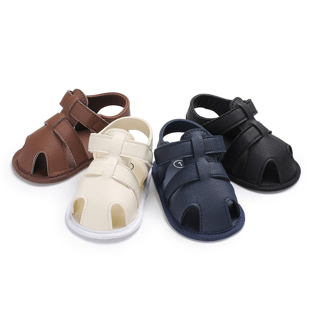Boys Girls Baby Shoes New Born First Walkers Casual Solid PU Toddler Shoes New Summer Soft Sole Booties Non-Slip 0-1 Years Old
