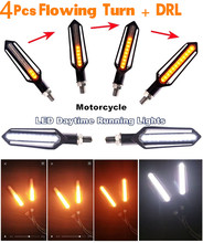 4 Pieces Motorcycle DRL Turn Signal Lamp Sequential Flowing Indicator Light White & Yellow