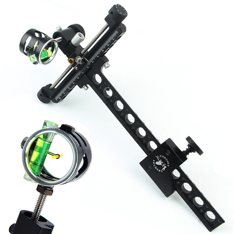 4x Compound Bow Sight 1 Pin 0.059 Micro Adjust Long Pole Hunting Bow Sight Aluminum Archery Zoom Single Bow Accessory Shooting archery bow blue light led sight black 3 x l736