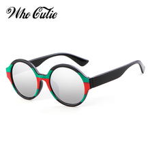 f0d5ecaf15 WHO CUTIE 2018 Round Designer Sunglasses Women Brand Vintage Tortoiseshell  Red Green Strip Mirror Sun Glasses