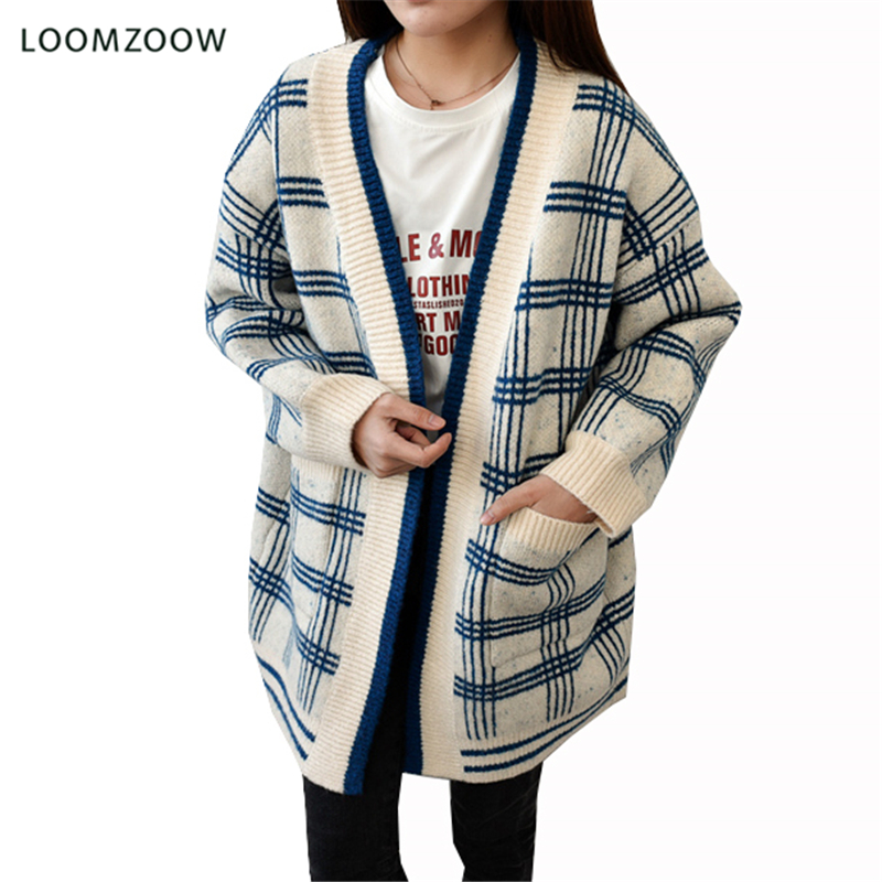 Cardigans Women Spring Plaid Knitted Sweater V-Neck Casual Long Cardigan Female Soft and Comfortable Coat Jumper Outwear Jackets