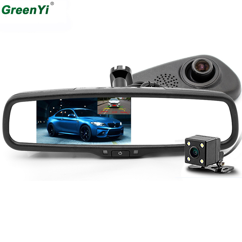 GreenYi HD 1920*1080P Car DVR Camera Rearview Camera Dual Lens Dash Cam Recorder 5 IPS LCD Screen Car Rear View Mirror Monitor 1920 1080p 4 3 lcd dual lens video dash cam recorder car camera dvr 3 in 1 rearview mirror front car dvr rear view camera