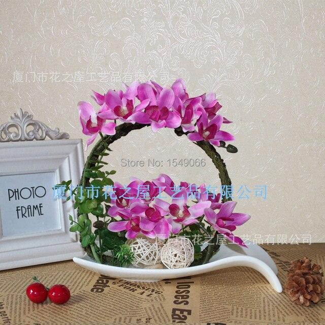 Petit Gros De Haute Qualite Soie Grege Orchidee En Pot Fleurs