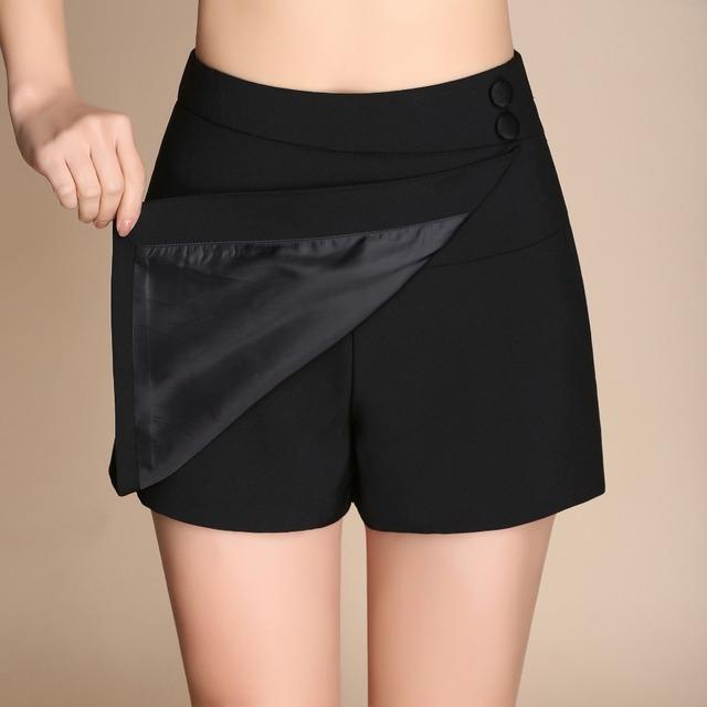 2017 Primavera Verão Mulheres Sexy Shorts Saias Envoltório Dividir Cintura Alta Shorts Zipper Senhora Do Escritório de Moda Solta Casuais Saias Curtas
