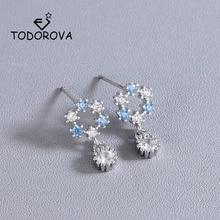 Купить с кэшбэком Todorova Korean Fashion Silver Women Earrings Shiny Crystal Zirconia Sweet Hollow Round Stud Earrings Jewellery Brincos