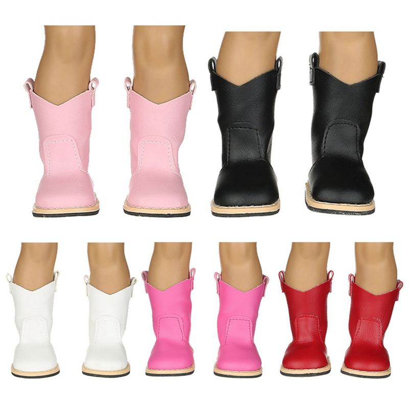 New Arrival Solid Color Leather Shoes Knee High Boots For 18 Inch Girl Doll Toys For Children Girl Doll Accessories