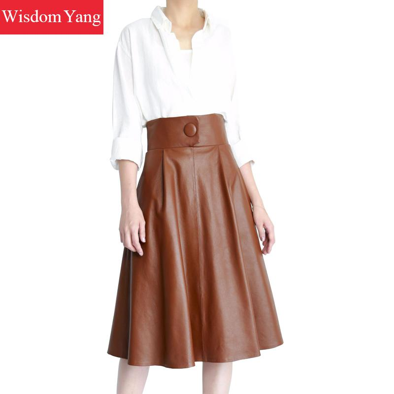 Summer Black Coffee Real Sheep Skin Genuine Leather Skirt High Waisted Midi Long Skirts Women 2018 Casual Party Ladies Sundress