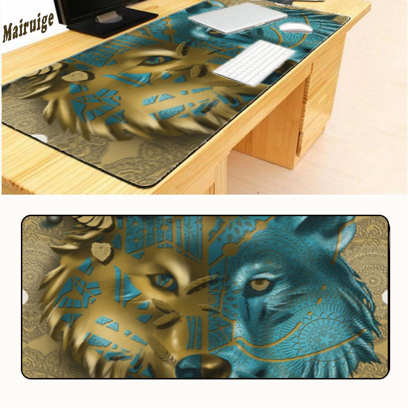 Mairuige Free Shipping Big Gaming Light Wolf Design Pattern Computer Mousepad Gaming Mouse Pad for Wolf Lock Edge 900*400*3mm