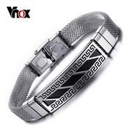 Vnox Men S Bracelet Rock Punk Bracelets Bangles New Fashion Stainless Steel Greek Key Pattern Bracelet