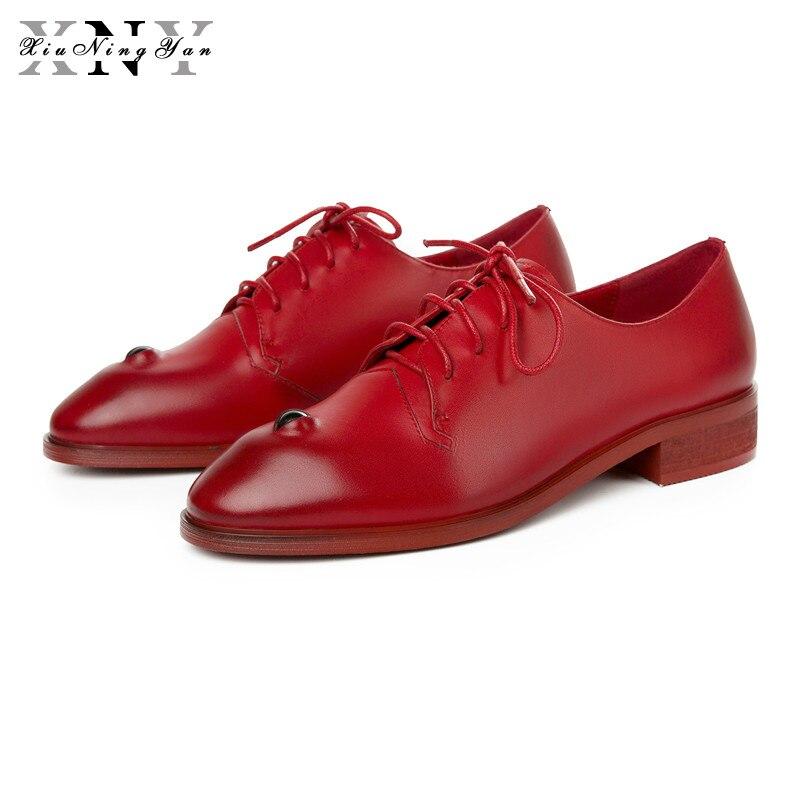 Xiuningyan 여성 캐주얼 옥스포드 신발 여성 플랫 눈 신발 정품 가죽 봄로 퍼 슬립 운전 신발 큰 크기 33 41-에서여성용 플랫부터 신발 의  그룹 1