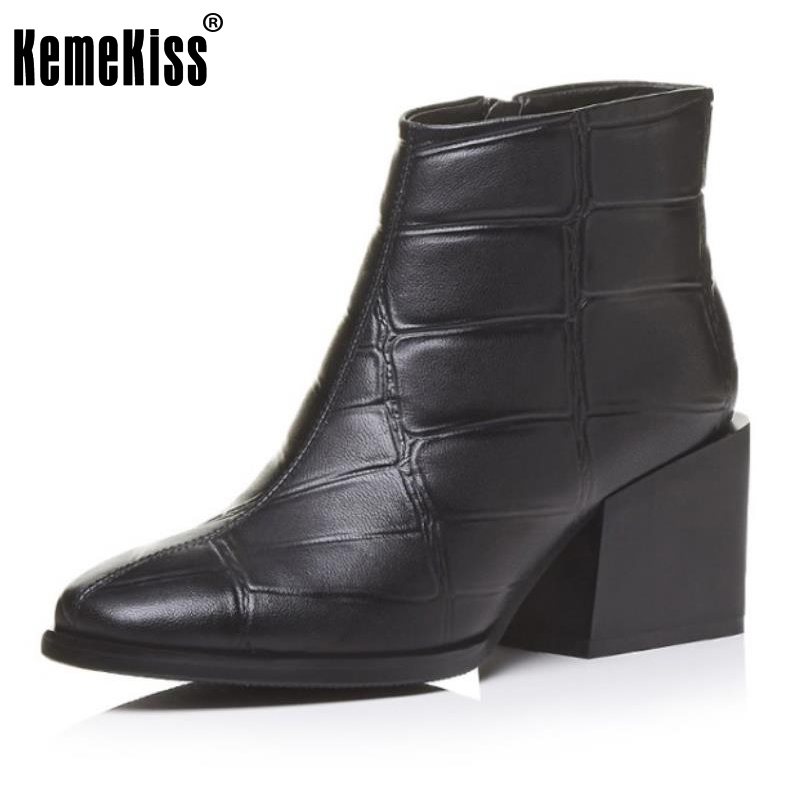 KemeKiss Size 34-39 Ladies Genuine Leather Thick High Heels Ankle Boots Women Square Toe Zip Shoes Women Handmade Autumn Botas fashion square toe zip genuine leather solid nude women ankle boots thick heel brand women shoes ladies autumn short boots