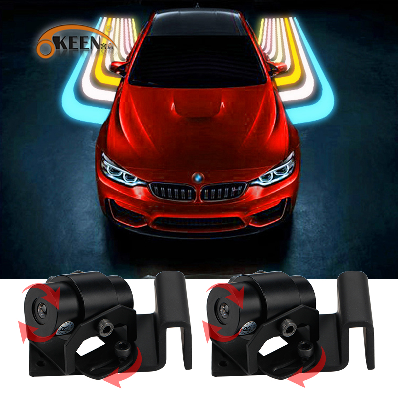 OKEEN 12V LED White/RGB Angel Wings LED Car Welcome Light Shadow Light Projector Car LED Door Warning Light Lamp for Audi BMW sunset horseman gobo door led projector light welcome lamp cree q5 ultra bright puddle light for lincoln corvette vw dodge 1527