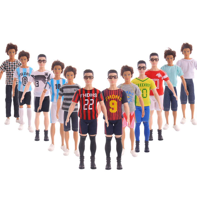 12PCS / LOT Male Barbiees Doll Clothing Ball Suit Sports Suit  Ken Barbiees  Clothes Gifts Sell Well
