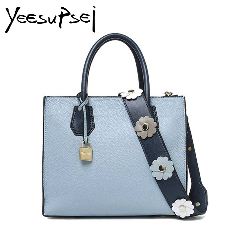 YeeSupSei Famous Luxury Designer Floral Wide Strap Shoulder Lock Bag Women High Quality Litch Leather Bag Woman Tote Bag Handbag