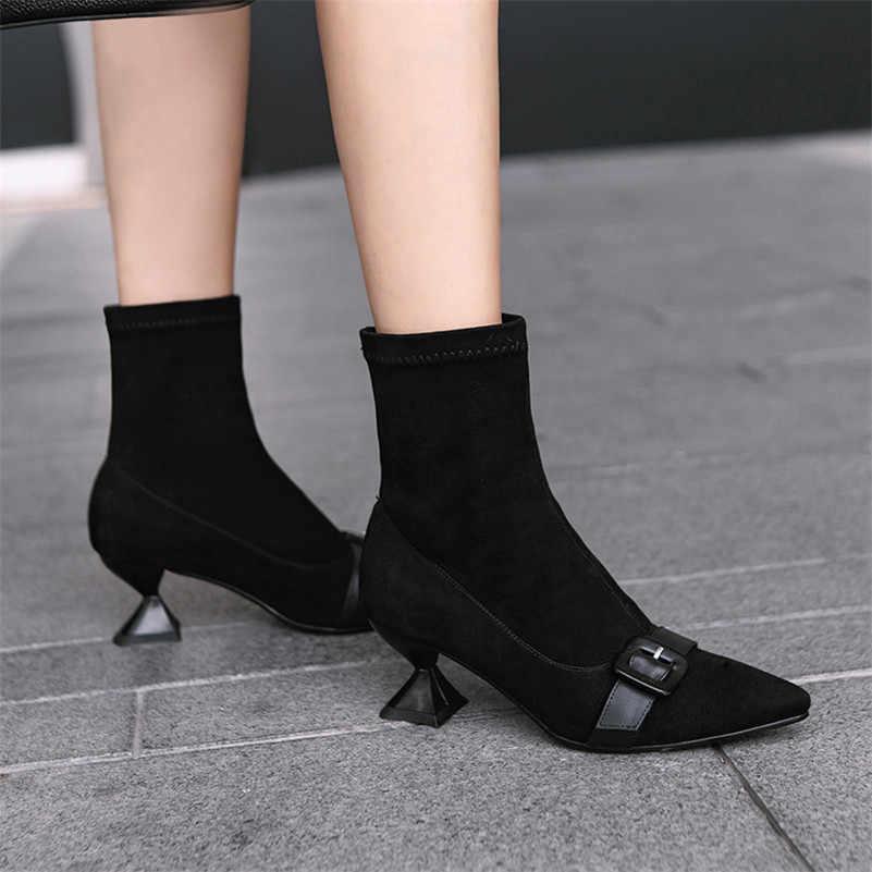 FEDONAS Yeni Kadın Tokaları Sonbahar Kış sıcak Bayan Ayakkabıları Kadın Garip Yüksek Topuklu Parti Düğün Balo Pompaları Bayanlar kısa çizmeler