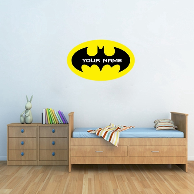 High Quality Batman Customized Name Vinyl Wall Decals,Personalized Wall Sticker With  Boys Name For Kids Room