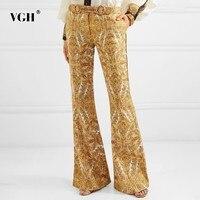 VGH Summer Vintage Print Flare Pants Pants For Women Zipper High Waist Sashes Slim 2019 Full Length Pant Female Fashion New