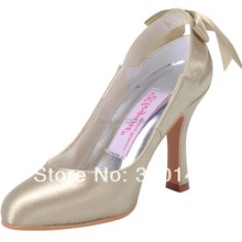 Hot Style Gold Pointed Toe Women Pumps MM-1125 Cutouts 3.5″ Thin Heels Satin Fashion Wedding Bridal Evening Dress Shoes