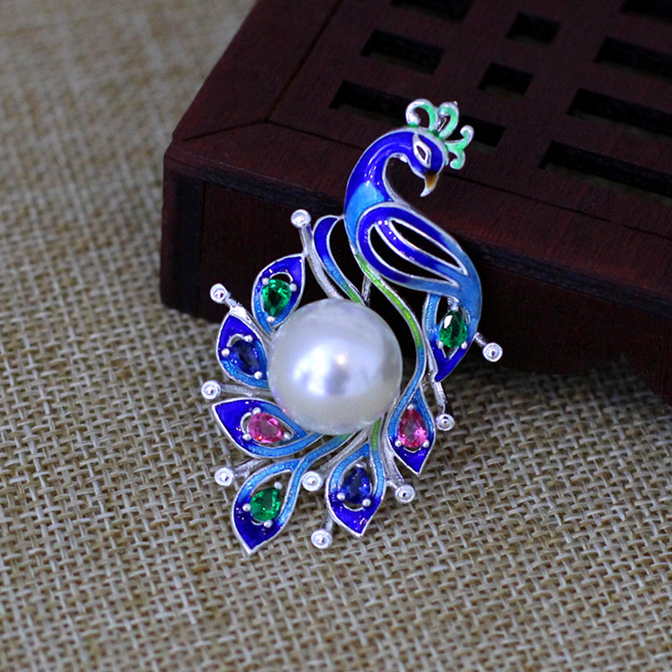 Silver quality character of the new listing of women's natural pearl paint Phoenix inlaid zircon S925 Pendant