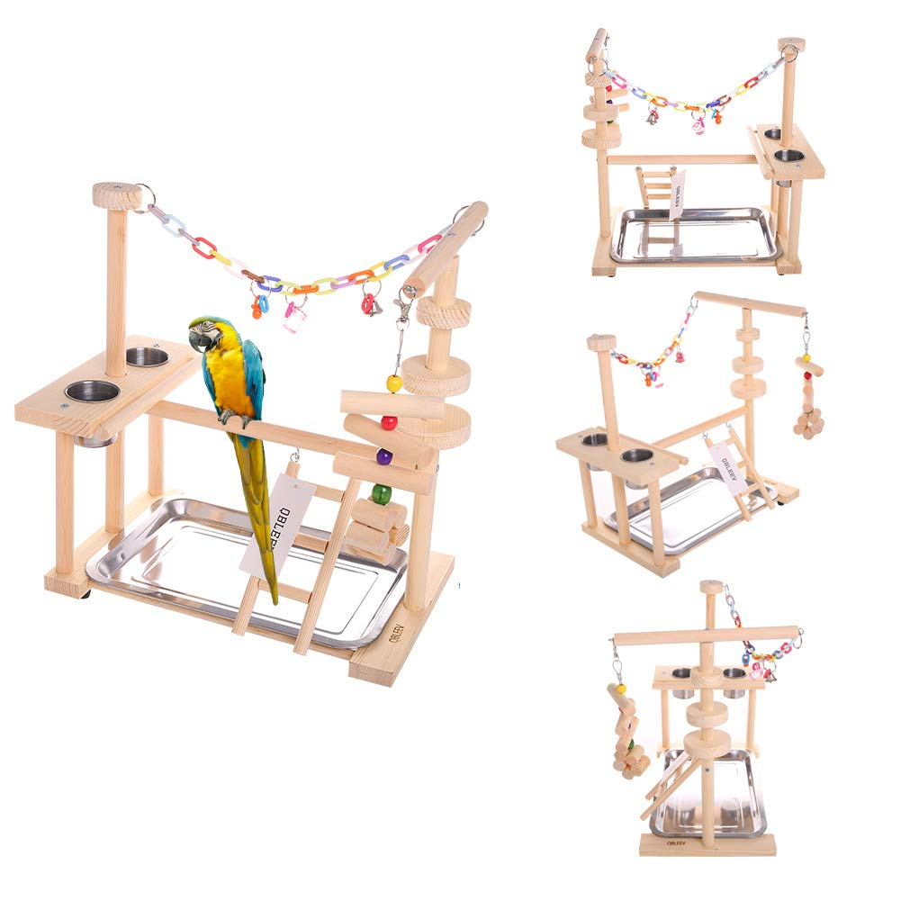 Parrot Playstand Bird Play Stand Cockatiel Playground Wood Perch Gym Playpen Ladder with Feeder Cups Toys