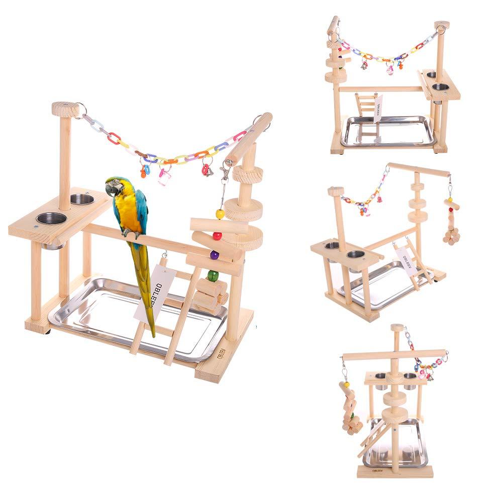 オウム Playstand 鳥スタンドオカ遊び場木パーチジムベビーサークルはしごでフィーダーカップおもちゃ (インクルードトレイ)  グループ上の ホーム&ガーデン からの 鳥用止まり木 の中 1