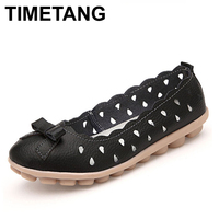 Discount Spring And Autumn Bow Genuine Leather Flats Mother Hollow Shoes Women S Comfortable Casual Shoes