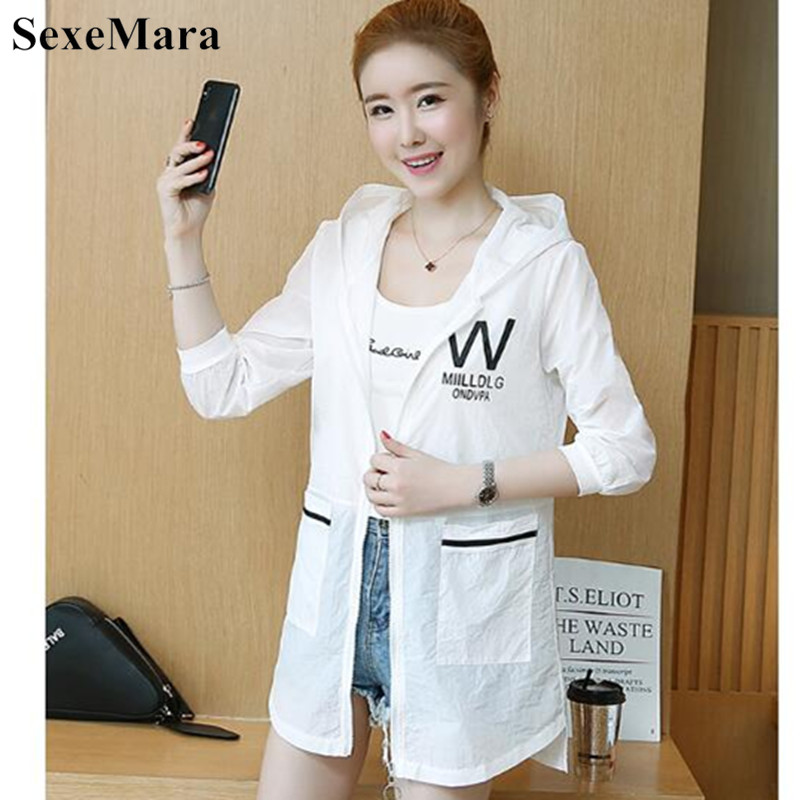 SexeMara 2019 Summer New Female Long-sleeved Sun Protection Clothing Women Sunscreen Coat Fashion Solid Hooded Loose UV Jacket 48