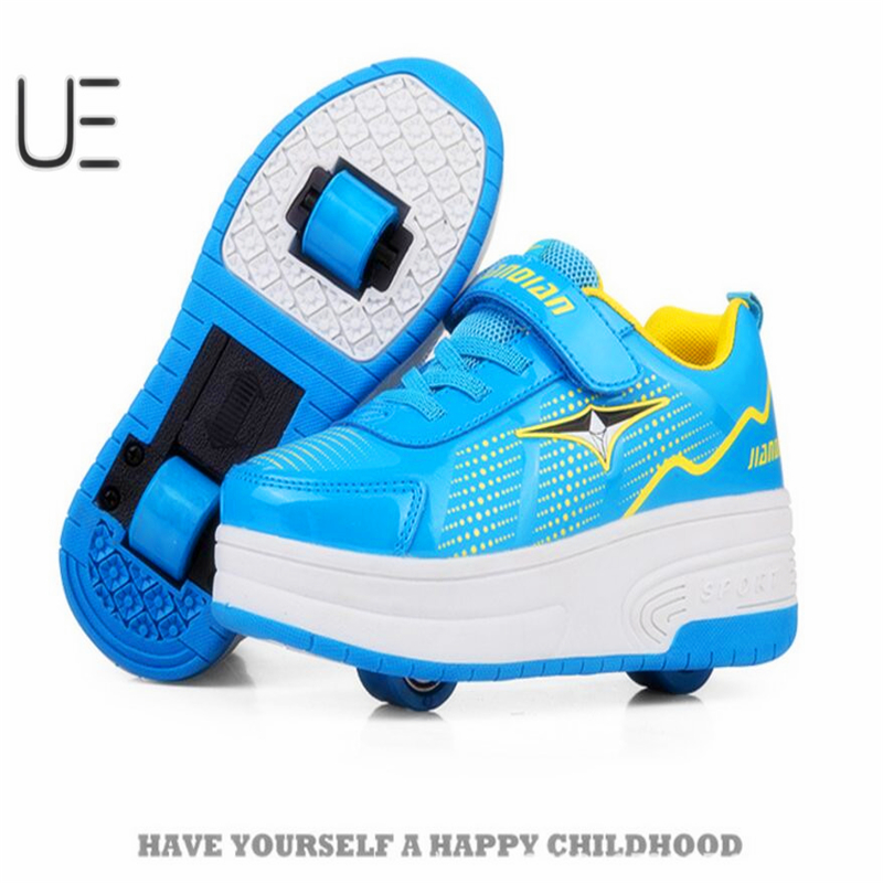 2017 Led Lights Children Shoes Kids Walking  Roller Girls Shoes with Wheels for Boys Sneakers Led Light Up with double wheels 2017new children led light shoes with one two wheels kids pu leather high help roller skate shoes boys girls sneakers shoes