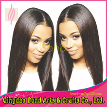 Natural straight long hair virgin brazilian glueless front lace wigs human hair straight natural color full lace wig