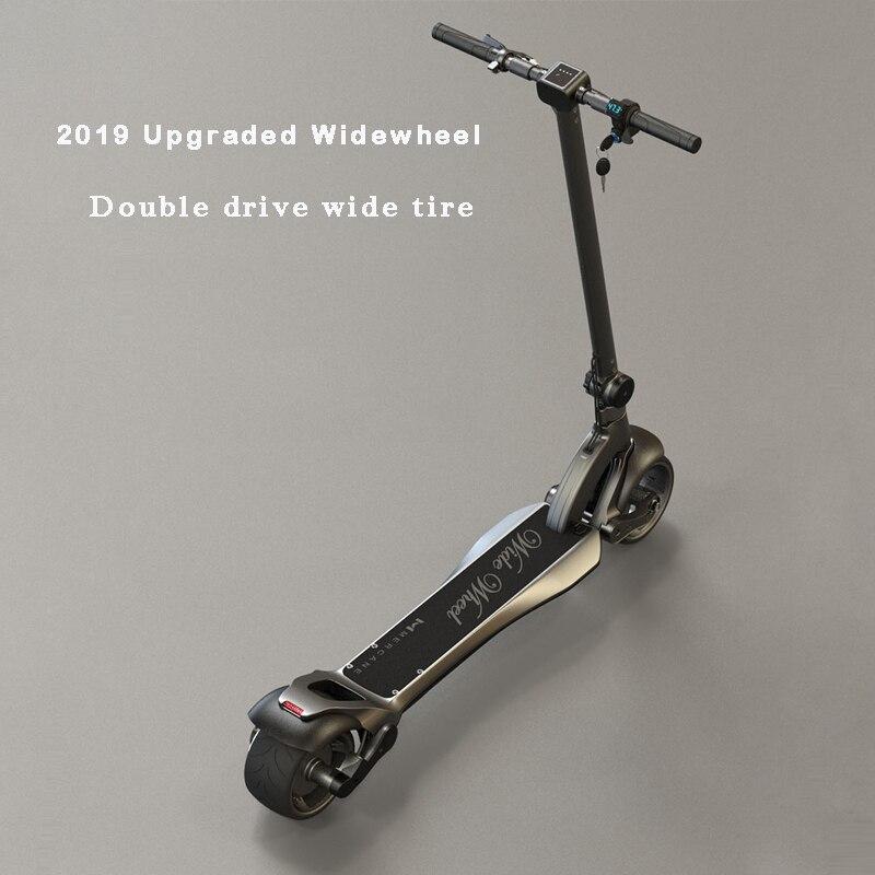 2019 amélioré Widewheel scooter électrique double moteur scooter électrique coup de pied-scooter 634Wh adulte scooters serrure à clé et voltmètre