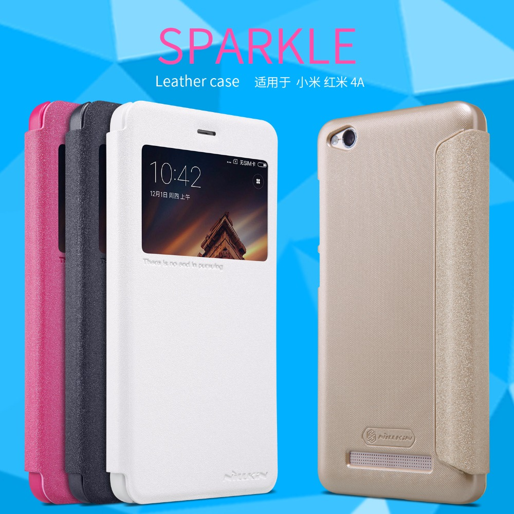 brand new e2646 b9aaf US $7.38 22% OFF|Xiaomi redmi 4A case cover Nillkin sparkle leather case  for Xiaomi redmi 4A Status view windows-in Flip Cases from Cellphones & ...