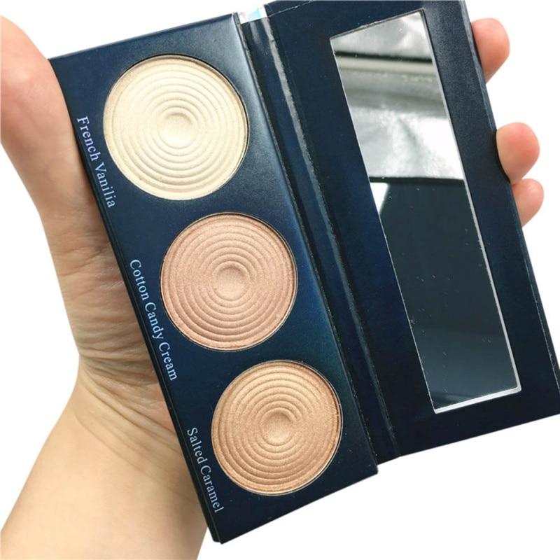 NEW Makeup Highlighter Powder Palette 3 IN 1 Iezīmētājs Shimmer Eyeshadow Pallete Set Brighten Face Foundation palete