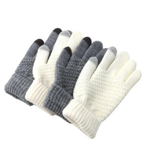 Knit Mittens Winter Accessories Women Warm Wool Stretch Screen Gloves