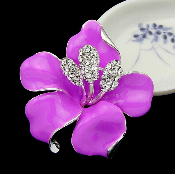 danbihuabi Rhinestone Crystal Colorful Llily Flower Brooch for Women Gifts Bridal Wedding Bridal Accessories