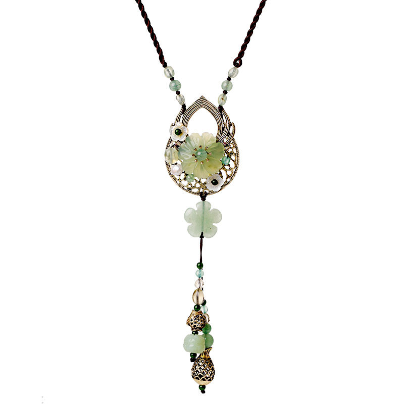 New Fashion Handmade Necklace Natural Gift Jewelry For Women Pendants Flowers Necklace Accessories Long Flower Necklace retro style flower pendants necklace for women