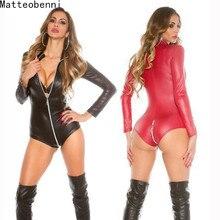 Lencería Sexy de wetlook para mujer, de piel sintética de látex Catsuit, mono de entrepierna con cremallera frontal, disfraces fetiche, traje erótico de talla grande