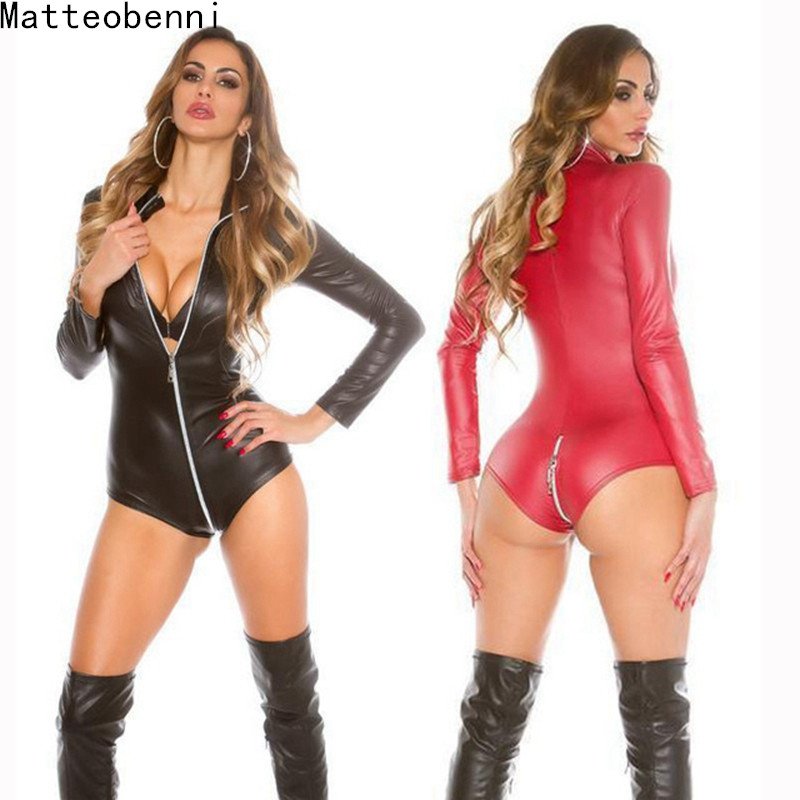Sexy Wetlook Lingerie Women Latex Catsuit Faux Leather Front Zipper Crotch Bodysuit Fetish Costumes Erotic Body Suit Plus Size