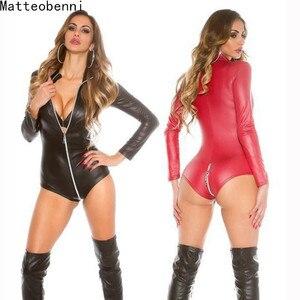 Image 1 - Sexy wetlook Lingerie Women Latex Catsuit Faux Leather Front Zipper Crotch Bodysuit Fetish Costumes Erotic Body Suit Plus Size