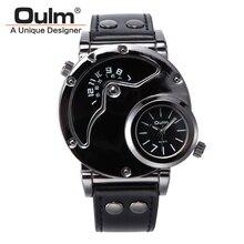 2016 Reloj De Lujo de Los Hombres Militares de OULM Dual Time Zones Movimientos Deportivos de Cuero de Cuero de Cuarzo Analógico Reloj de Los Hombres Relogio regalo
